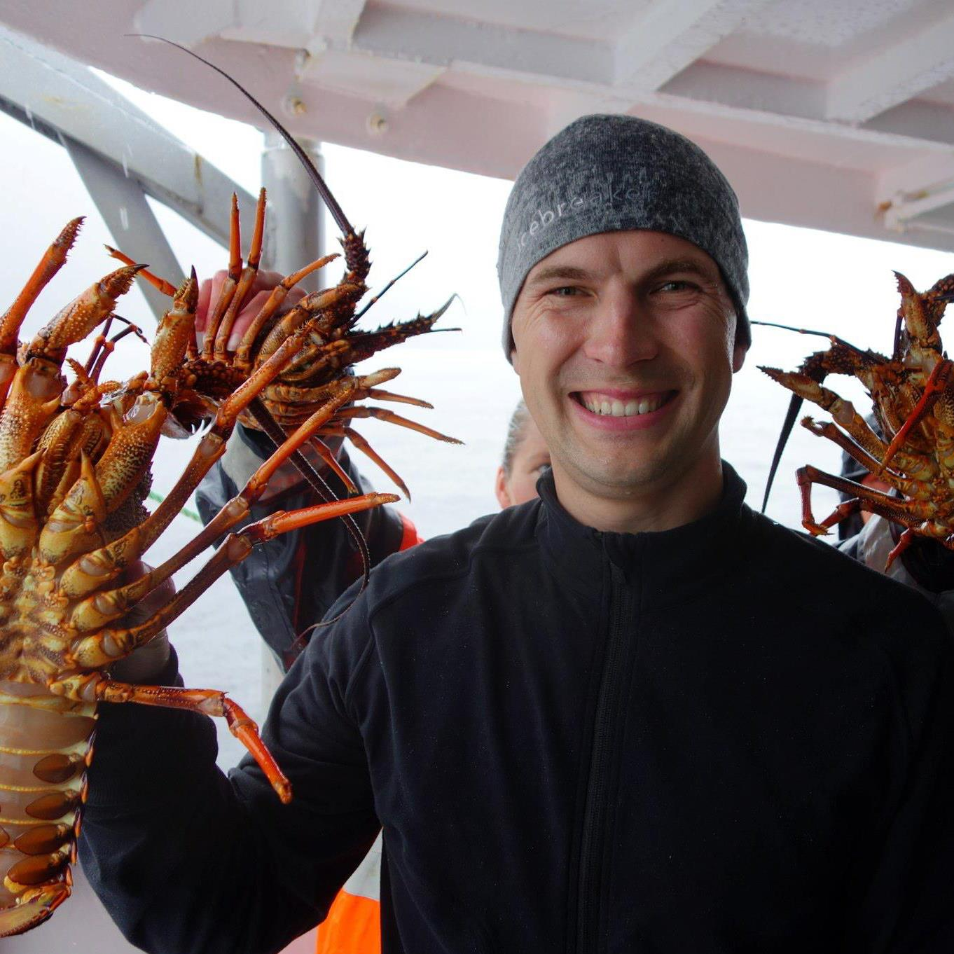 Chris Gillman with lobster