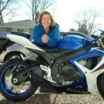 Karen Marie Chase with motorcycle